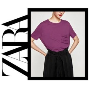 NWT Zara Ruffle Pocket Short Sleeve Top